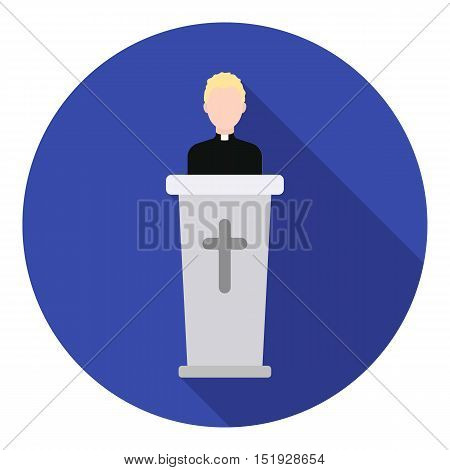 Priest icon in flat style isolated on white background. Religion symbol vector illustration.