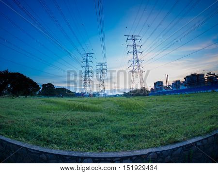 High voltage post or High voltage tower in green field at Butterworth, Penang, Malaysia