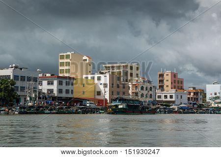HAINAN CHINA - 12.09.2016: fishing village by the sea in island Hainan in China