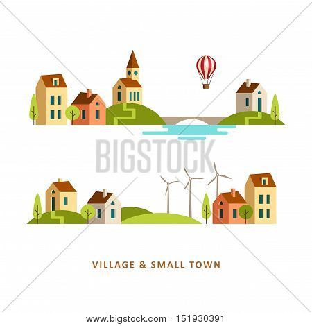 Village. Small town. Rural and urban summer landscape. Vector flat illustration.
