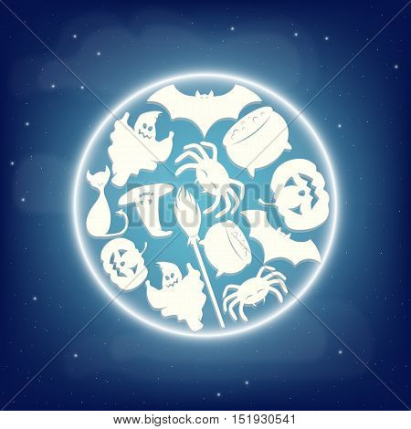 Full eclipse moon with Halloween characters silhouettes. Vector illustration.