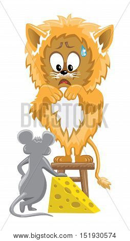 Orange lion frightened by mouse is standing on stool