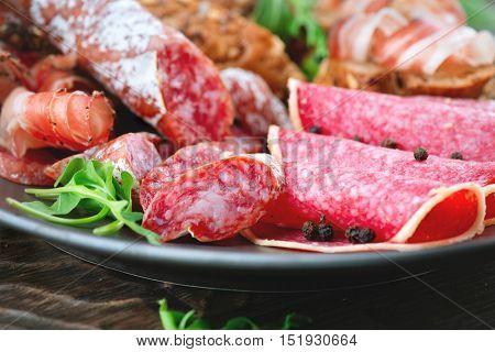 Salami, Sausage. Various Italian Ham, Salami and Bacon close up