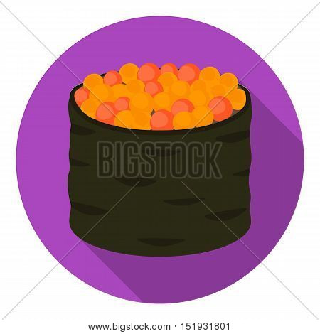 Ikura gunkan-maki icon in flat style isolated on white background. Sushi symbol vector illustration.