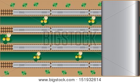 Top View of Diesel Railcar train at Station Vector Illustration