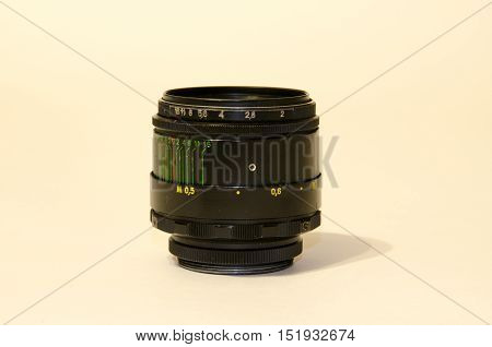 Camera lens with lense reflections. Video, light, photographer,