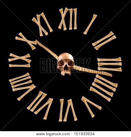 Clock made of crossed bones. Gothic concept. Horror concept. Halloween concept.