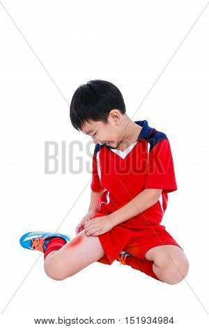 Youth Asian Soccer Player With Pain In Thigh.
