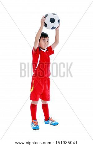 Full Body Of Asian Soccer Player With Football. Studio Shot. Isolated.