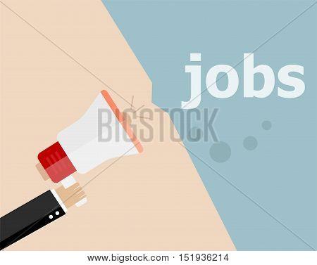 Flat Design Business Illustration Concept. Jobs Digital Marketing Business Man Holding Megaphone For