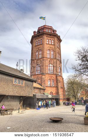 STOCKHOLM SWEDEN - May 04.2013: Ethnographic complex the open air museum Skansen located on Djurgarden Island in Stockholm. Water tower