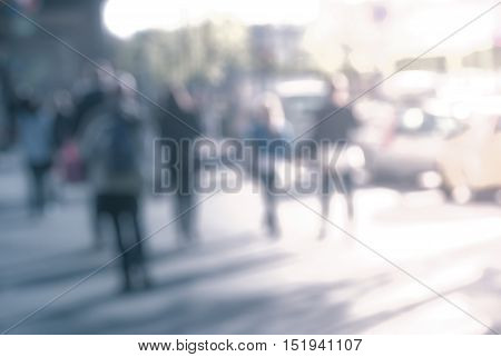 City commuters at sunset. Blurred background image for business, modile apps, and other uses.