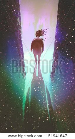 man walking out from a dark space into light, illustration painting