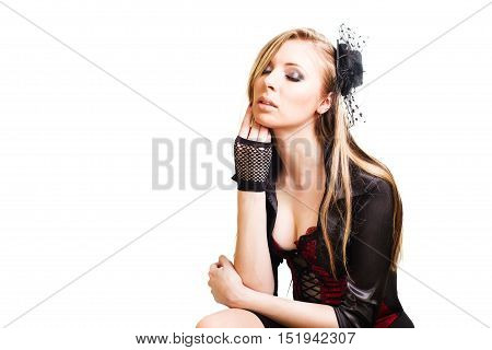 Blond long hair girl with retro hat isolated on white.