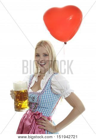 Woman in Dirndl with Balloon with white background