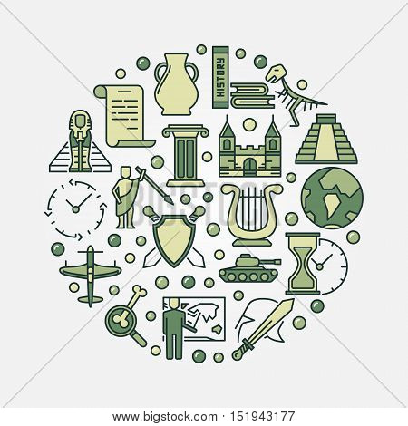History education round symbol. Vector circular educational concept sign made with green history icons