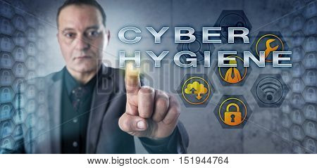 Mature corporate computer user is observing CYBER HYGIENE while interacting with a virtual screen. Information technology concept for the responsibility of an individual regarding internet security.