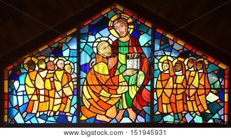 SAINT BENOIT DU LAC CANADA 10 15 16: Stained glass window inside the chapel Saint Benedict Abbey, is an Abbey was founded in 1912 by the exiled of St. Wandrille, France under Abbot Dom Joseph Pothier