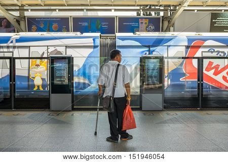 BANGKOK THAILAND 15 OCT 2016 : The passenger using BTS Skytrain at Phayathai station in Bangkok Thailand.