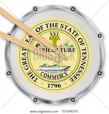 Tennessee state seal snare drum batter head with tuning screws and with drumsticks over a white background