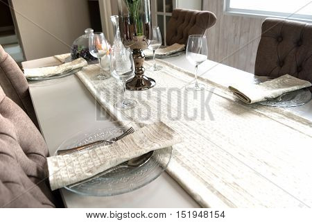 Empty Dining Table Interior Decoration In Dinning Room