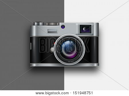 Background with retro photo camera, vector illustration