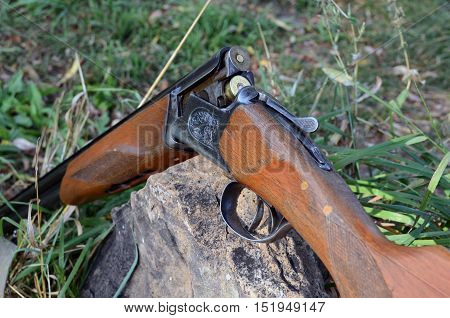 double-barreled hunting weapon cartridges in a weapon trunk on hunting weapon in safe situation