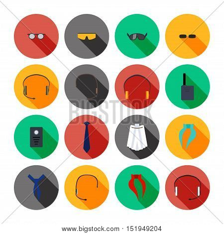 Vector set of beautiful accessories isolated icons.