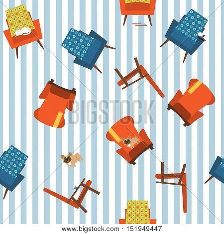 Seamless vector pattern chairs.Simple seamless pattern of different chairs and animals.