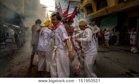 Hatyai Songkhla Vegetarian Festival in Thailand. Date Oct. 7, 2016. People celebrate a vegetarian festival during the festival ritual mortification is practiced to appease the Gods.Action photography Capturing movement..