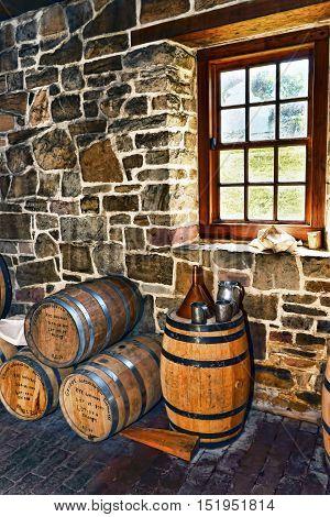 Mount Vernon Virginia - Sept. 2013 : George Washington whiskey distillery first opened in 1797.