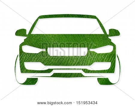 Car silhouette made of green leaf on white background. Eco vehicle concept.