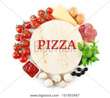 Ingredients for tasty pizza and word PIZZA on white background.