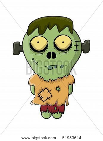 cute zombie halloween frankenstein vector symbol icon design. Beautiful illustration isolated on white background