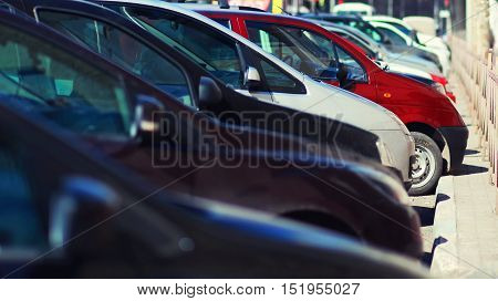 Lot Of Cars Parking In The City, View Side