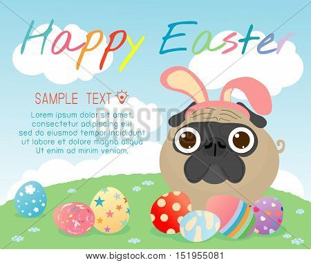 bunny pug with colorful easter eggs on grass, Happy Easter, Happy Easter banners with easter eggs, pug rabbit and Easter eggs, Vector illustration.