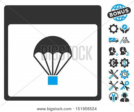 Parachute Calendar Page pictograph with bonus service symbols. Vector illustration style is flat iconic symbols, blue and gray, white background.