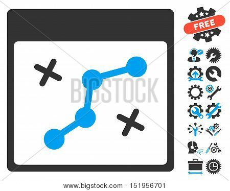 Path Points Calendar Page pictograph with bonus setup tools pictograms. Vector illustration style is flat iconic symbols, blue and gray, white background.