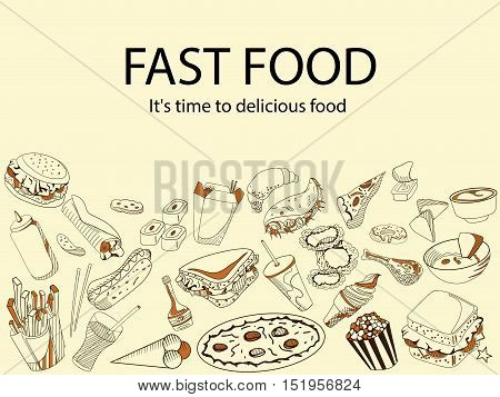 Fast food. It is time for a delicious meal. Banner vector. Icons art set Doodle line design of web banner template with hamburger, pizza, snacks, cheeseburger, sandwich, taco, pretzels, onion rings