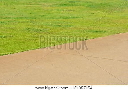 Background with grass a treadmill in Park
