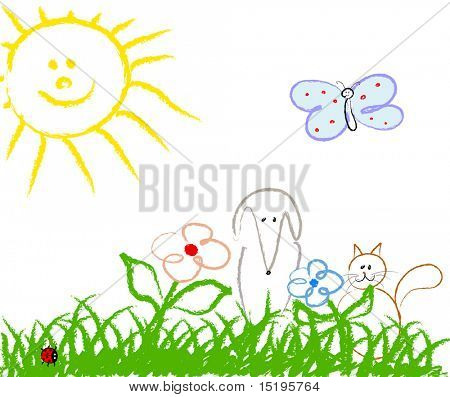 cute child handmade drawing - vector illustration - jpeg version in my portfolio
