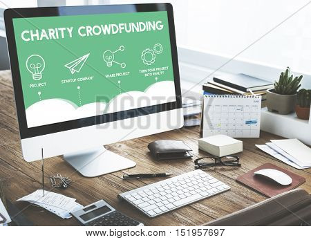 Crowdfunding Startup Business Crowdsourcing Cooperation Graphic Concept