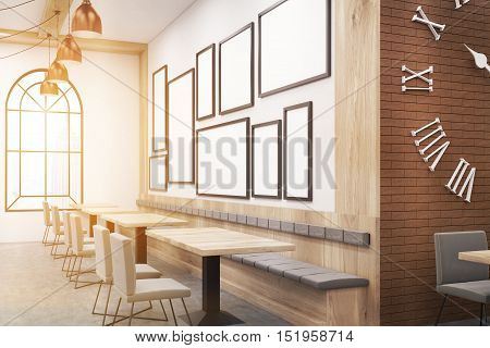 New York cafe with photo gallery on the wall. Concept of trendy place to eat and have a good time. Mock up. Toned image. 3d rendering