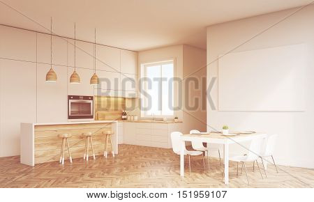 Side view of kitchen with oven sink countertops and window. Concept of healthy food. 3d rendering. Mock up. Toned image