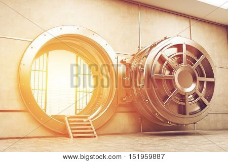 Wide open sunlit vault door of the bank. Sunlight is seen from the inside. Concept of money safe keeping. 3d rendering. Toned image