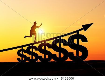 Silhouette of woman in office clothes running up the stairs made of dollar signs. Concept of financial career ladder. Mock up. Toned image. Double exposure