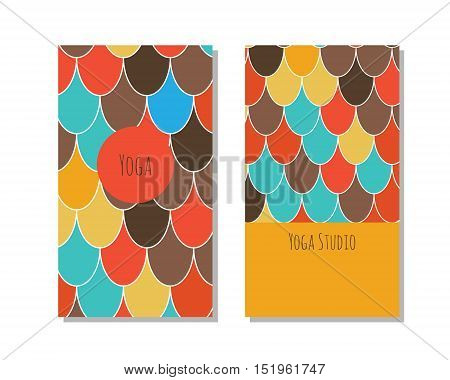 Cards template for yoga studio. Vector editable pattern with front and back side visit cards and flyer. Moroccan Fish Scales