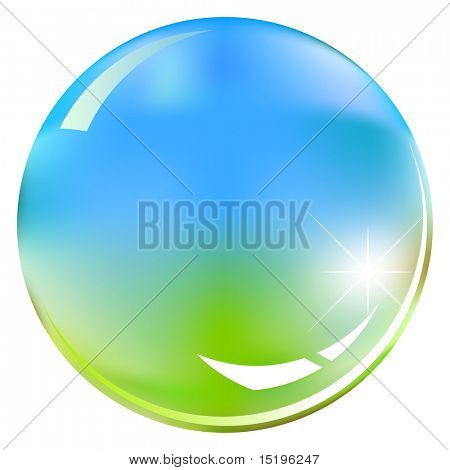green and blue shiny sphere - vector illustration