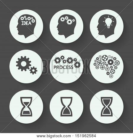 Processes gray icon set, flat design. Vector illustration