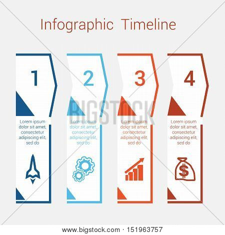 Timeline Infographic colored arrows from lines. Area chart Business Infographic template with text areas for four position Eps file is layered and fully organised objects are grouped
